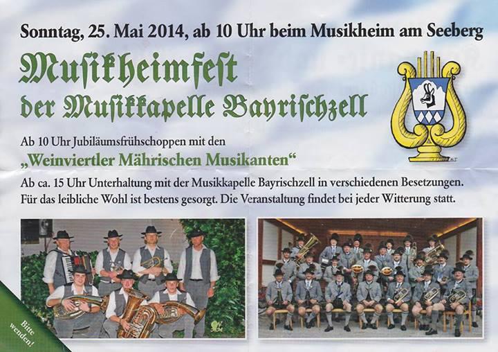 Flyer zur Einladung zum Musikheimfest 2015